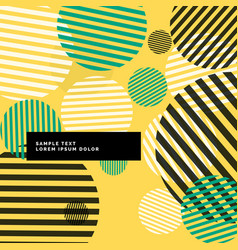 yellow abstract circles with stripes background vector image