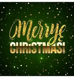 Christmas card Gold sparkles on Green background vector image