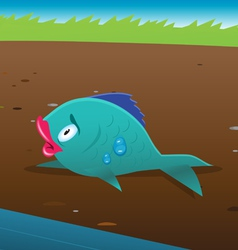 fish stranded land vector image vector image