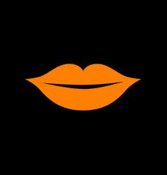 lips sign orange icon on black vector image