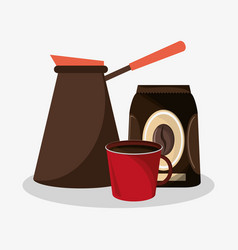 Plastic coffee maker with bag of coffee and vector
