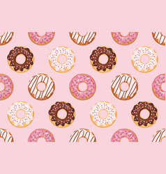 seamless pattern with glazed donuts pink colors vector image vector image