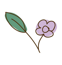 watercolor hand drawn silhouette of purple flower vector image