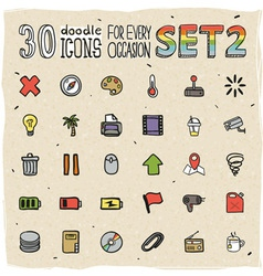 30 Colorful Doodle Icons Set 2 vector image