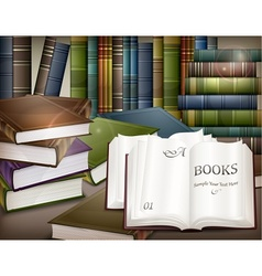 Book stacks on table vector image vector image