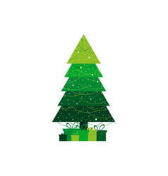 christmas tree decorated with a garland vector image