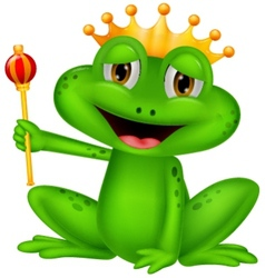 Frog king cartoon vector