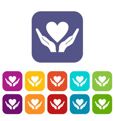 hands holding heart icons set vector image
