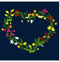 Heart frame with wreath of wildflowers and herbs vector image vector image