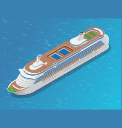 Luxury cruise ship a modern liner is in an ocean vector