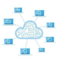 Modern cloud technology computer network vector