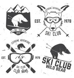 ski club retro badge vector image vector image