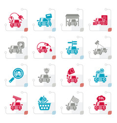 stylized car and road services icons vector image vector image