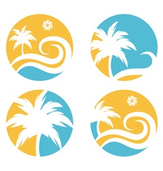 tropical travel design template with palm tree vector image vector image