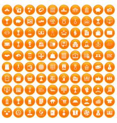 100 business icons set orange vector image