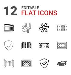 12 defense icons vector image
