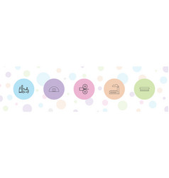 5 factory icons vector
