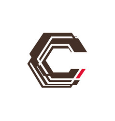abstract c letter technology logo vector image