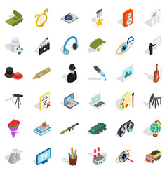 acting icons set isometric style vector image