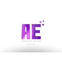 Ae a e pink alphabet letter logo combination with vector