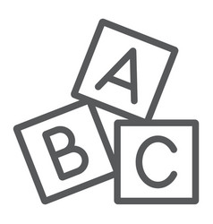 Alphabet cubes line icon abc and toy vector