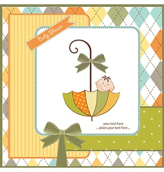baby shower card with umbrella vector image