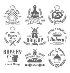 Bakery and pastries monochrome emblems vector