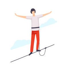 Balancing tightrope walker flat vector