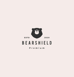 bear shield logo hipster retro vintage icon vector image