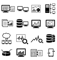 Big data computer and cloud computing web icons vector