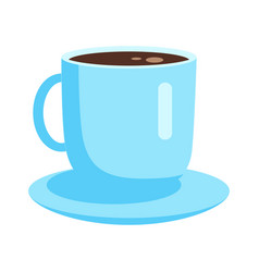 Blue cup with coffee on saucer flat icon vector