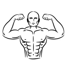 bodybuilder sketch hand drawn silhouette vector image