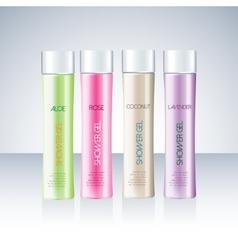Bottles with sample labels for shower gel or vector