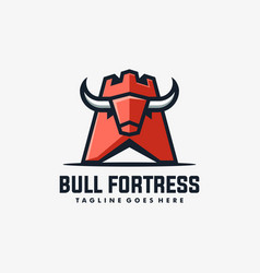Bull fortress concept design template vector
