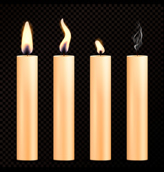Burning candles realistic set vector