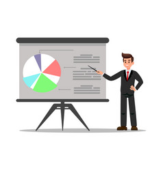 Business coach in suit flat vector