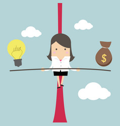 businesswoman balancing on the rope vector image