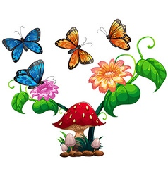 Butterflies flying around mushroom and flower vector image