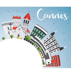 Cannes skyline with gray buildings vector
