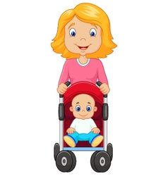Cartoon a mother pushing a baby stroller vector
