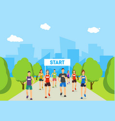 cartoon marathon runners on track in park card vector image