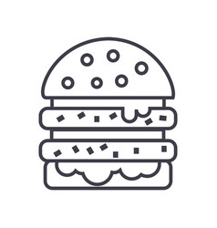 cheeseburger line icon sign vector image