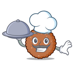 Chef with food chocolate biscuit mascot cartoon vector