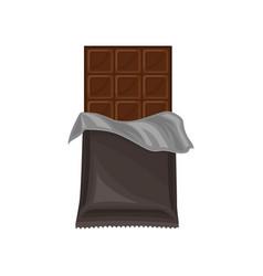 chocolate bar in grey polyethylene wrap delicious vector image