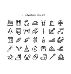 christmas icons set stroke style vector image