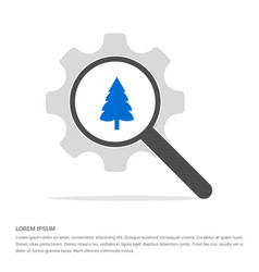 Christmas tree icon search glass with gear symbol vector