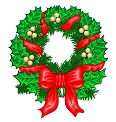Christmas Wreath with ribbons balls and bow vector image