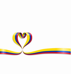 Colombian flag heart-shaped ribbon vector