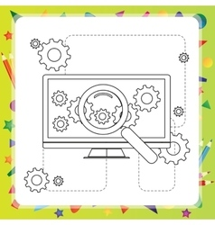 Coloring book computer vector image