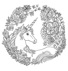 coloring unicorn 6 vector image